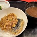 天冨良 天甲 - 玉ねぎかき揚げ天丼 蜆の赤出汁 お漬物