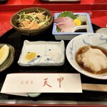 天冨良 天甲 - おまかせコース・カンパチのお刺身は付き出しで別途650円でした!