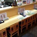 天ぷら てんちゃん - 新型コロナ対策としてカウンター中央3席は基本的に閉鎖(状況により一人分のみ開放)