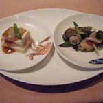 1378004 - カワハギの炒めものと蟹肉と豆腐の蒸しもの