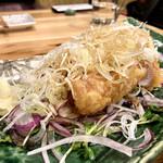 久松屋 - ねぎとん(厚切豚ロースの天ぷらをネギとポン酢で) 900円