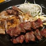 元 - 砂肝串焼き、鶏肉の山賊焼き