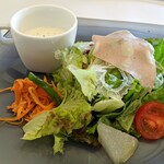 137830045 - じゃがいもの冷製スープ&モルタデッラのサラダ(本日の日替わりランチ)
