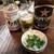 松浦酒店 - サッポロ黒ラベル大瓶450円とふぐかわ(値段不明)