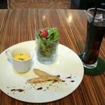 スクエア ヴィダ ロハ - ワカサギのエスカベッシュ、にんじんの冷製スープ、サラダ、アイスコーヒー