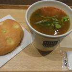 スープストックトーキョー - 焼きトマトオニオンスープ+フォカッチャ