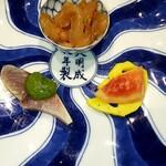 Series - 黒酢の締め鯖 椒麻ソース・大連産くらげ 柚子風味・蓮根ビクルス無花果の甘露酒漬け