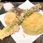 SOBA-HOUSE 大自然 - 天ぷら単品(アスパラ・白なす・長芋・椎茸)