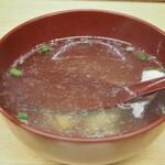 一芳亭 - えび天定食(スープ)