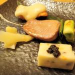 13797568 - 新生姜・お魚の串焼き・鮭+おいもかユリネのソース・他