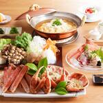 さんぽう西村屋 - 活松葉蟹と地野菜のすき鍋コース「白梅」
