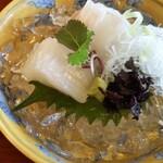 魚三楼 - ケンサキイカとヒラメ