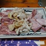 丸和 - ハラミ・シロ・カシラ(炙り4点セット)