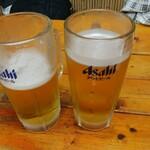 丸和 - 中生ビール(炙り4点セット)