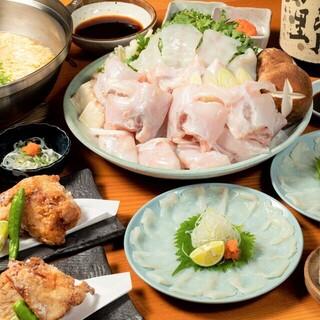 【ふぐ尽くし】刺・焼・揚など、多彩な料理で堪能できるコース