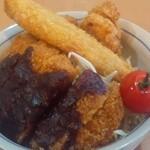 お食事処 幹 - オススメの156丼です。(国産豚ロース120g、鳥の唐揚げ、白身魚、赤だし)ランチ時間は飲み物が付きます。