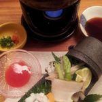 瓢箪の花 - 7 しゃぶしゃぶ一人鍋 (ハモ・鮑アワビ 各2切れ)