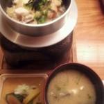 瓢箪の花 - 10 鯛釜飯 オコゼアラ合せ味噌椀 香の物