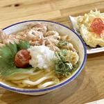 ○七商店 - 炙り梅とおろしそ肉麺&鶏天