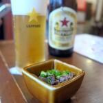 taishuubanikusakabafujiyama - お通しの馬肉の煮物は生姜が効いてウマい
