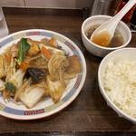 龍味 - 厚揚げと豚肉のピリ辛炒め定食