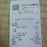 無添くら寿司 - レシート(2012.07.09)