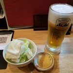 鶏心 - お通し&生ビール