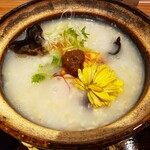 銀座 食医心方 - 烏骨鶏のピリ辛粥