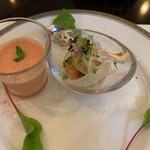 138252866 - 《前菜》トマトと豆乳のスムージー、サーモンのエスカベッシュ