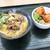 はなまるうどん - 料理写真:牛肉玉子あんかけと、鶏の唐揚げ丼