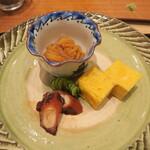 鮨 山浦 - 自家製塩辛、煮蛸、玉子