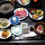 小野川温泉 吾妻荘 - 料理写真:夕飯の全容(天ぷら・お吸い物・ご飯・スイーツも付きます)