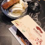 バルバッコア - ソフトクリームとバナナケーキ、写真を入れてくれたカード