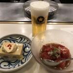 Shabusen - 小生ビール   アスパラ豆腐   トマトサラダ