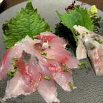 旬魚介×串揚げ Kushi‐Toria M's - アジ刺とイワシ刺