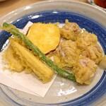 まずい魚 青柳 - 白子と野菜の天ぷら