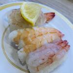 かっぱ寿司 - 海老の三種盛りです