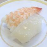かっぱ寿司 - 海老とイカの二種盛り
