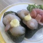 かっぱ寿司 - 甘海老軍艦。マヨが決めて。やはり子供連れが多いということか?