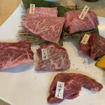 あかまる牛肉店 - 鳥取和牛ランチ 6種盛り