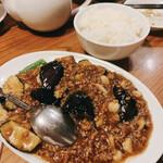 酒巴 菜華 - なすと挽肉の味噌炒めと半ライス