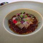 138608548 - 佐土原茄子のフラン 魚介のマリネバルサミコのジュレ