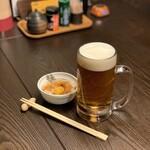 焼鳥 若竹 - 東京クラフト 樽生(中ジョッキ)