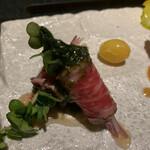 焼肉 喰心 - 和牛ずわい蟹巻き 海苔ソース