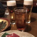 酒の魚 和海 - 生ビールとウーロン茶
