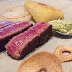 阿蘇迎賓館 縷々 - 料理写真:鉄板焼きの肉