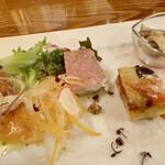 イル ポネンティーノ - 前菜5種盛り合わせ ◉ キノコの白ワインビネガー ◉ 茄子のアルフォルト ◉ パテドカンパーニュ ◉ 鱈のカルピオーネ ◉ サーモンのカルパッチョ