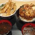 産地直送市場 - 料理写真:左 ラグーナ丼、右蒲郡かき揚げ丼(とにかくボリューミー♥️ちょっと揚げすぎな色ですが私はこれくらいでOK