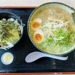 ゆにろーず - 料理写真:「にんたま ねぎ豚丼セット(醤油)」920円税込み