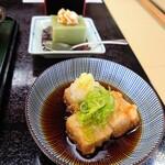 芭蕉庵 - セットの揚げ出し蕎麦豆腐に蕎麦デザート